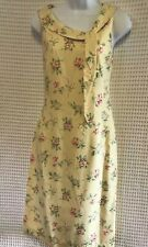 Laura Ashley Yellow Floral Silk Dress Size 4 Vintage