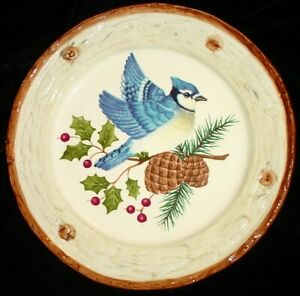 "HOLIDAY BLUE JAY w HOLLY & BERRIES SALAD DESSERT BIRD PLATE 8"" SONOMA KNOLLWOOD"