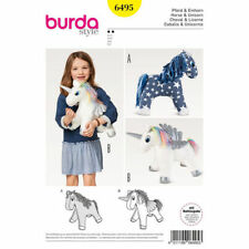 Burda Sewing Pattern Craft 6495 Soft Stuffed Toys Unicorn Horse approx 12in 30cm