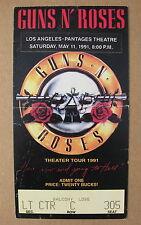 GUNS N' ROSES Pantages Theatre LOS ANGELES 1991 CONCERT TICKET Stub SLASH Axl