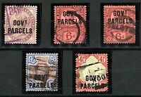 GB QV 1883/90 Officials range of Government Parcels issues cv£550+ (5v) U Stamps