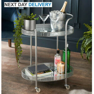 Deco Glamour Drinks Trolley - Silver with 2 Mirrored Shelves - Art Deco Theme