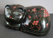 1997 Marvelous Russian Hand Painted Flowers Black Papier-Mache Cat Figure Signed