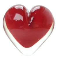 Vintage Art Glass Murano Sommerso Style Hand Blown Red Heart Paperweight