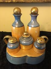 VTG ATQ Japanese Lusterware Cruet Set Ceramic Salt Pepper Caddy