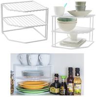 2 x 3 Tier Metal Corner Shelf Kitchen Cupboard Shelf Plate Rack Storage Cabinet