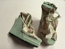 MEIDENGNU PINK RIBBON GREY HIGH HEEL DRESS SANDEL WOMEN SHOES SIZE 4 AU