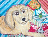 ACEO GOLDENDOODLE Designer Martini Dog Collectible Signed Art Card Print KSAMS