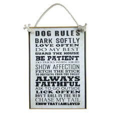 Country Printed Quality Wooden Sign Dog Rules Plaque New Hanging Saying