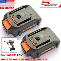 2X For WORX WA3525 PowerShare 20V 2.0Ah Lithium-Ion Battery WA3575 WA3520 WA3578