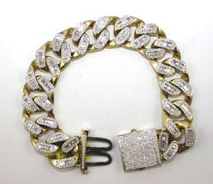 Round & Emerald Cut Diamond Cuban Link Men's Bracelet 14K Yellow Gold 12.40Ct