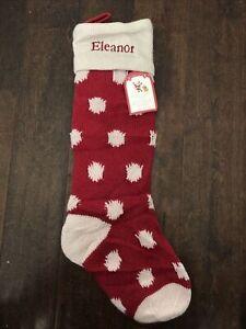 NWT POTTERY BARN Fair Isle Knit Polka dot Red CHRISTMAS STOCKING Mono Eleanor