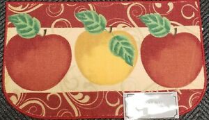 """PRINTED NYLON KITCHEN RUG (nonskid)(18""""x30"""") 2 RED & 1 YELLOW APPLES, D shape,AH"""
