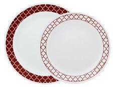 1 Corelle CRIMSON TRELLIS Choose DINNER or LUNCH PLATE *Red Hot Retro Geometric
