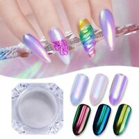 AURORA UNICORN Nail Powder Neon AB RAINBOW colors CHROME Mirror Effect Nails UK