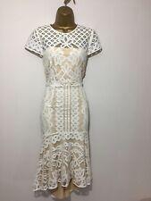 COAST Dee Dee Ivory & Nude Crochet High Low Evening Midi Dress Size 14