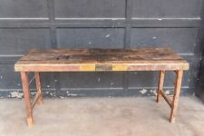 Vintage Indian Banquet Hall Folding Table, Wood Rustic Dining Kitchen Table