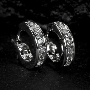 Men's Small White Gold Sterling Silver One Row Iced 5A Cz Huggie Hoop Earrings