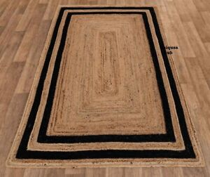 Rug 100% Natural Jute Breided Style Reversible Runner rug Area Carpet Rag Rug