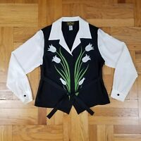 BOB MACKIE WEARABLE ART, 100% SILK Shirt - Western Rodeo Floral - Size M