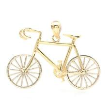 14K Two Tone Gold Articulated Bicycle Pendant *THE WHEELS SPIN!* 3.94 grams