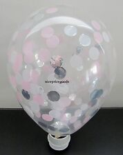 1 CLEAR 12INCH/30CM LT PINK/SILVER/MINT CONFETTI BALLOON. BABY EVENTS WEDDINGS
