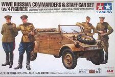 TAMIYA 1:35 WWII RUSSIAN COMMANDERS & STAFF CAR SET MEZZO E 4 FIGURE ART  25153