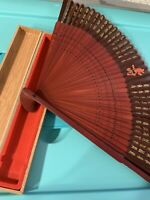 Ornate Vintage Asian Fan Collictible With Wooden Case