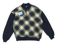Marks & Spencer Mens Size L Cotton Blend Check Blue Sweatshirt