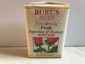 NEW Burt's Bees PEPPERMINT & ROSEMARY Body Bar 4 oz 99.9% Natural Discontinued