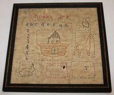 Vintage Miss Fannie Turgeon's Reproduction Noah's Ark Needlework Sampler - 1996