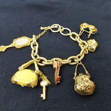 "Charm Bracelet Dangle Open Link Gold Tone Glitter Mirror Bikini Purse Shoe 7.9"""