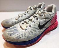 Nike Women's Lunarglide 6 Running Shoes White/Pink/Blue 654434-101 Size US 8 EUC