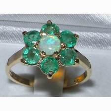Echte Edelstein-Ringe im Cluster-Stil mit Smaragd