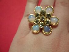 Opalite, Austrian Crystal Ring in 14K Yellow Gold Over Stainless-Size 7-15.00CTW