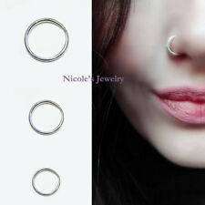 18G 925 Sterling Silver Plain Nose Ring Hoop Body Piercing CE26