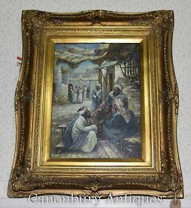 French Oil Painting - Arab Market Casbah Moor Scene