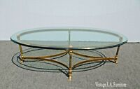 Vintage French Provincial Gold Brass Cocktail Coffee Table w Hoof Feet