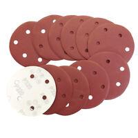 "100 pcs  125mm Sanding Discs / Sandpaper 5"" 8 Hole Pads 40-800 GRIT Sandpaper ER"