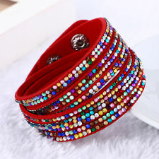 BEAUTIFUL LEATHER Slake BRACELET MADE WITH SWAROVSKI CRYSTALS RED COLOURFUL  NEW