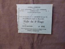 Opéra Comique. Billet d'entrée 15 mars 1923