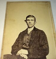 Rare Antique Victorian American Civil War Era Handsome Young Man! CDV Photo! US!