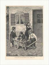 Der kranke Dackl Franz v. Defregger Kinder Leiterwagen Hund Holzstich E 16087