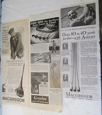 3 VINTAGE GOLF CLUB ADS FOR MACGREGOR AND KROYDON GOLF CLUBS  ONE IS 1925