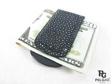 PELGIO Genuine Polished Stingray Skin Leather Magnetic Money Clip Holder Black