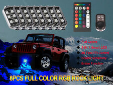 8PC RGB LED Multi-Color Offroad Rock Lights Wireless Remote Truck Jeep Underglow