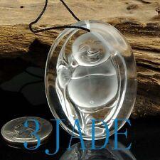 Natural Clear Rock Crystal Quartz Buddha Amulet Pendant Talisman