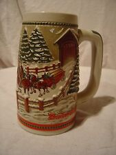 Budweiser Stein Mug Covered Bridge On A Snowy Winter's Eve Winter Clydesdales a3
