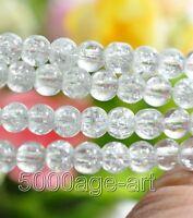 100PCS 200PCS half white Crackle Crystal loose bead glass Art Beads 6MM