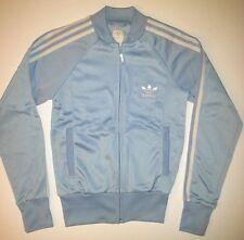 Vintage Adidas Powder Blue White Track Jacket X-Small Trefoil Bboy Bgirl Hip Hop